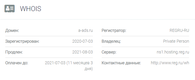 Информация о домене A-ads