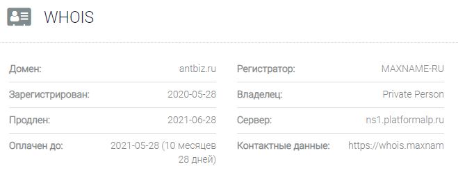 Информация о домене Antbiz