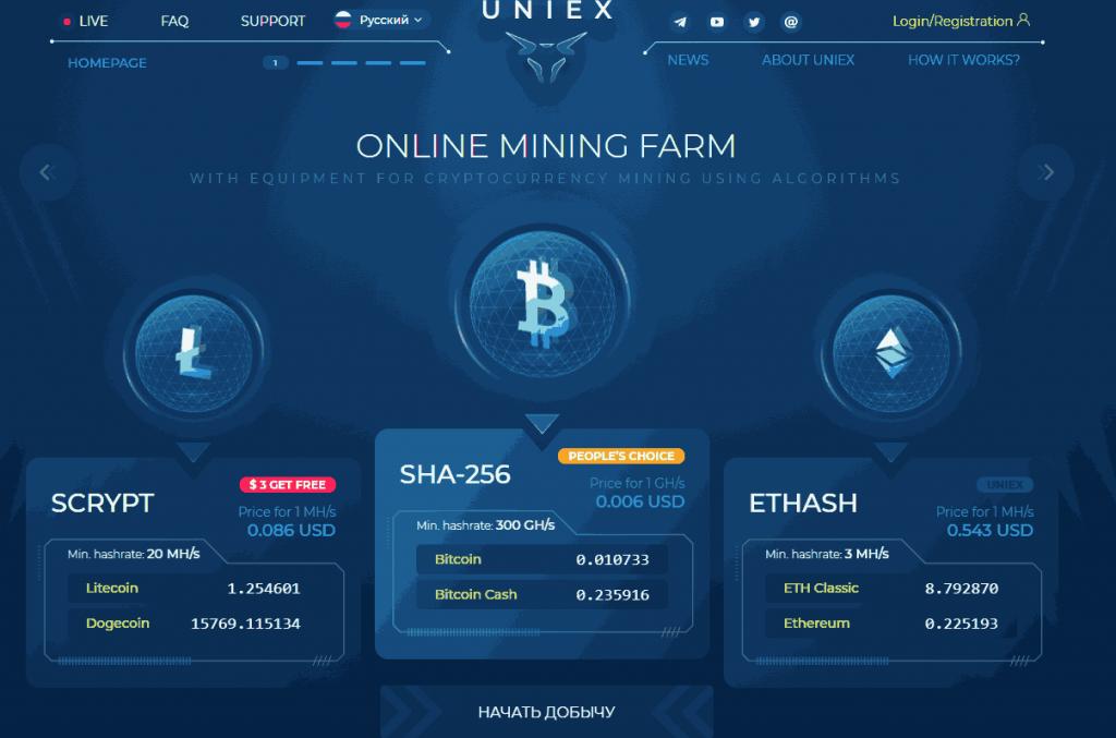 регистрация Uniex