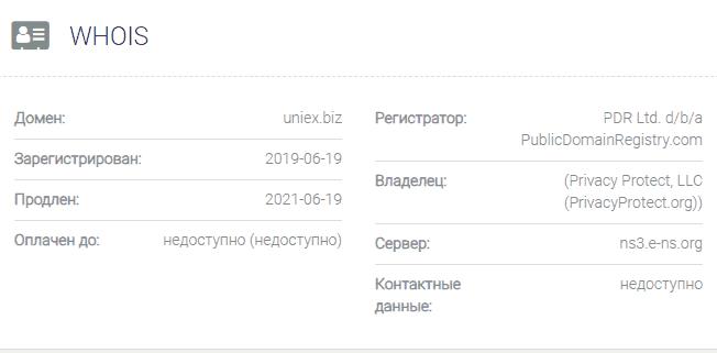 информация о домене Uniex