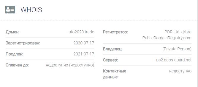 информация о домене Ufo2020
