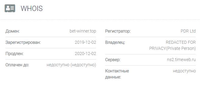 Информация о домене Bet-Winner