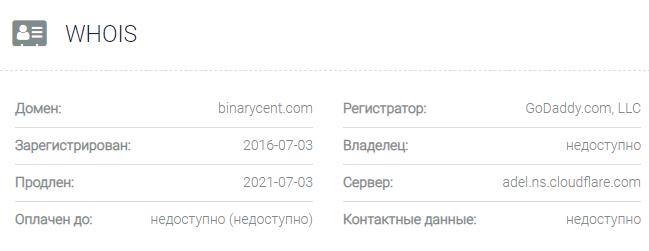 Информация о домене Binarycent