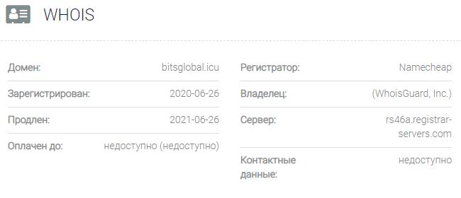 Информация о домене Bitsglobal