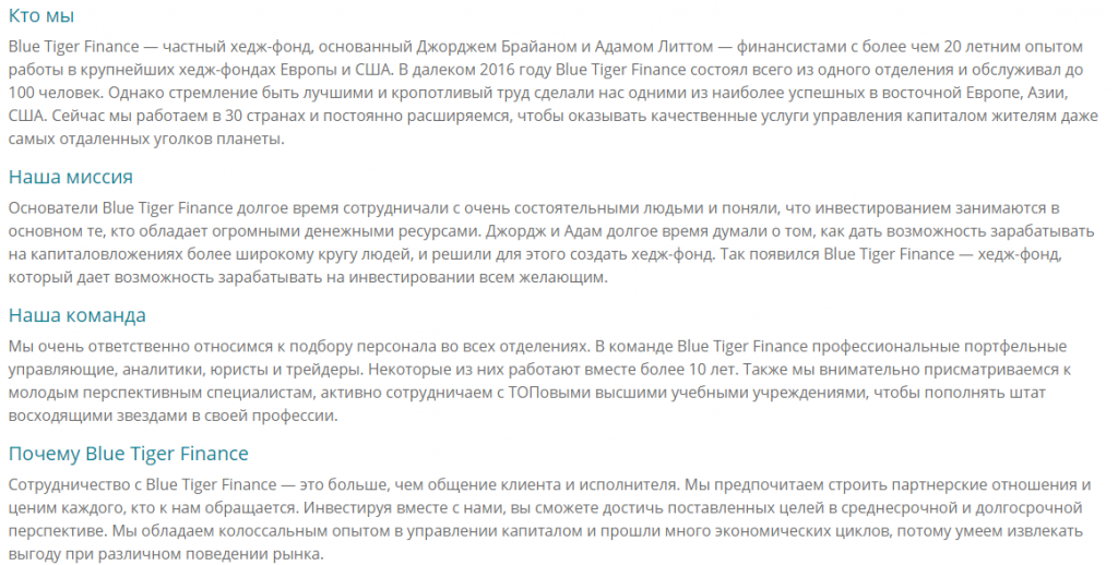 Информация о сайте Blue Tiger Finance