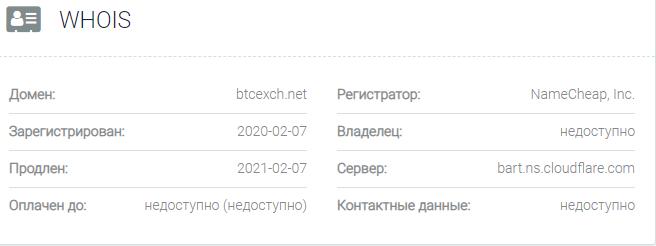 Информация о домене Btcexch