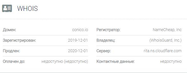 Информация о домене ConiCo