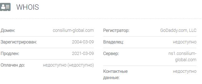 Информация о домене Consilium Global