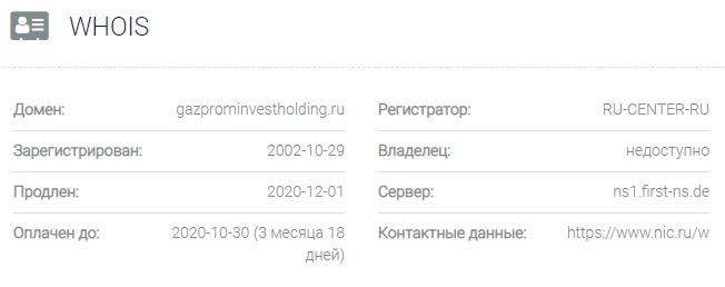 Информация о домене Газпром Инвестхолдинг