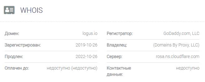 информация о домене Logus