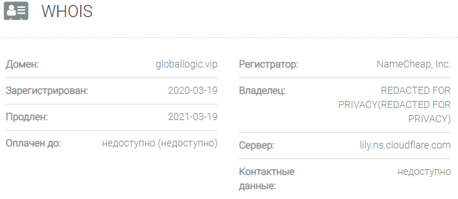 Информация о домене Global Logic IT