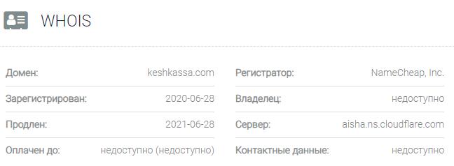 Информация о домене Keshkassa
