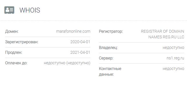 Информация о домене Marafononline