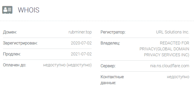 информация о домене Rubminer