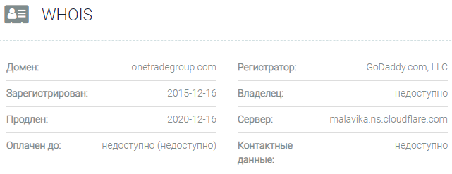 Информация о домене One Trade Group