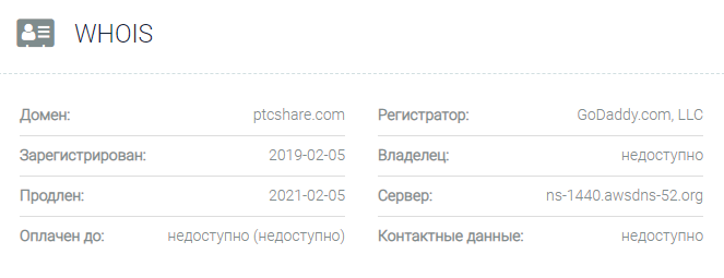 Информация о домене PTCshare