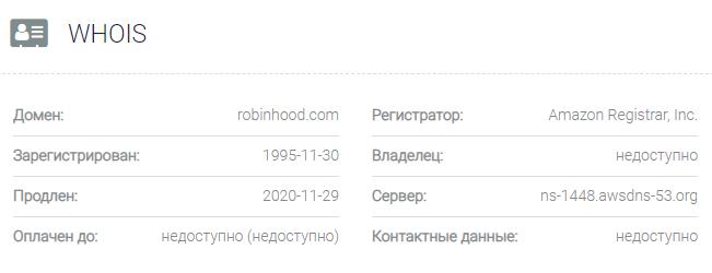 Информация о домене Robinhood