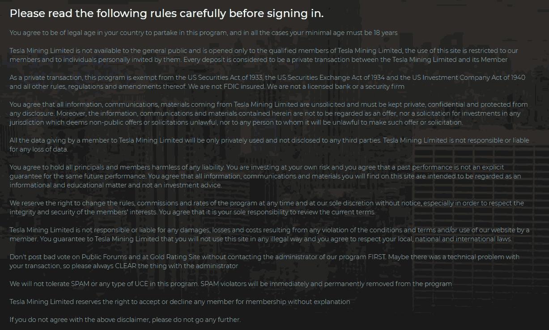 Информация о сайте Tesla Mining