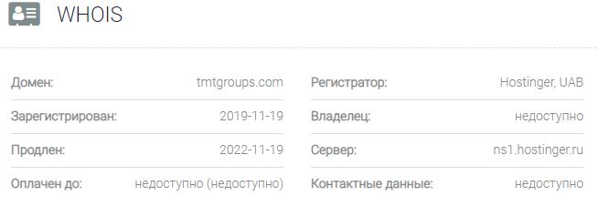 Информация о домене TMT Group
