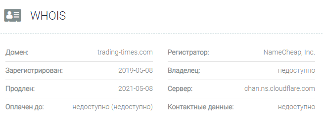 Информация о домене Trading Times