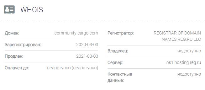 информация о домене Community-cargo