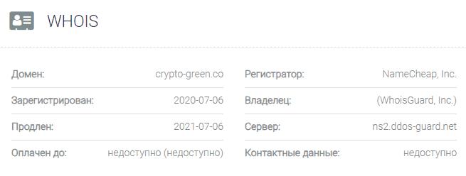 информация о домене Crypto-Green