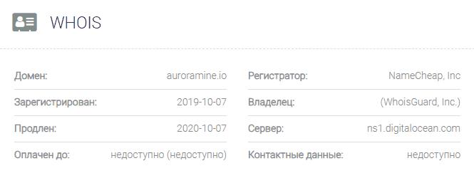 информация о домене Aurora Mine
