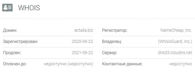 Информация о домене Actalia