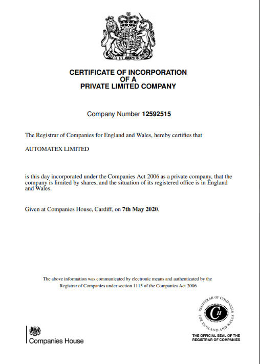 Automatex сертификат компании