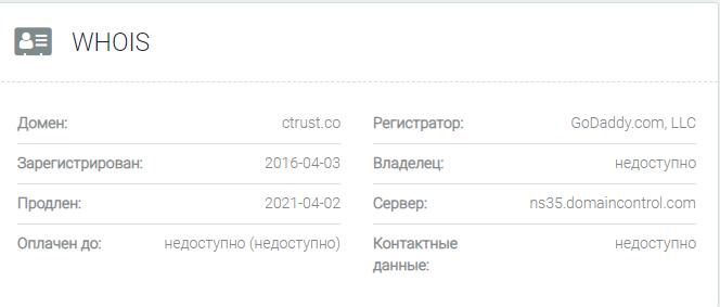 Информация о домене Ctrust