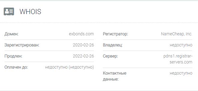 Информация о домене Exbonds