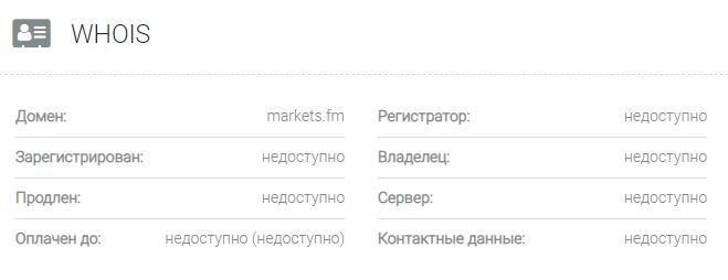 Информация о домене Markets fm
