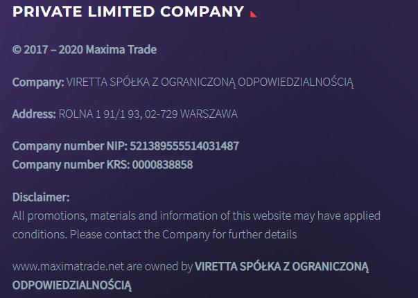 Информация о компании Maxima Trade