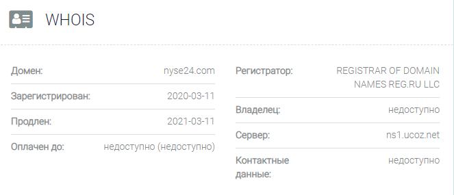 Информация о домене NYSE 24