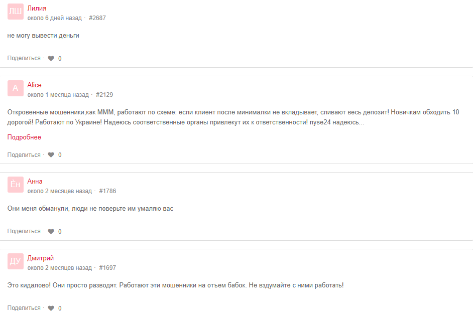 NYSE 24 отзывы