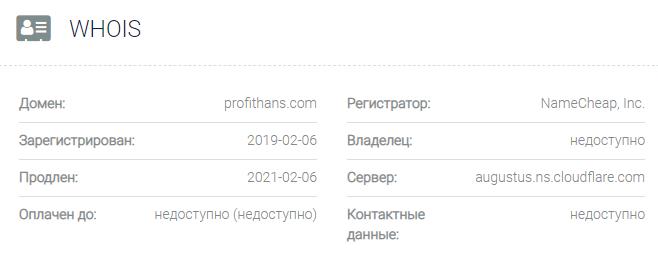 Информация о домене Profithans