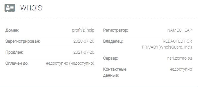 Информация о домене Profitizi