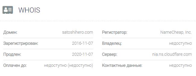 Информация о домене Satoshi Hero