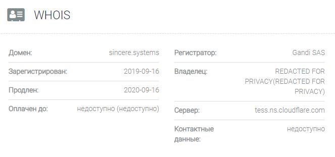 Информация о домене Sincere Systems