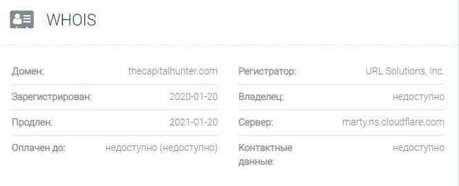 Информация о домене The Capital Hunter