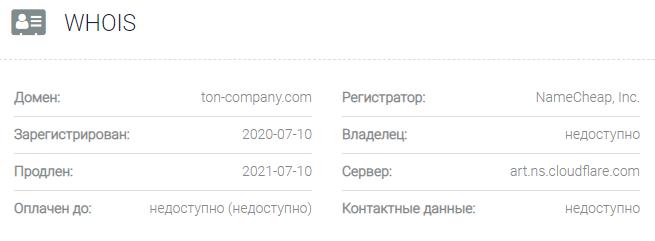 Информация о домене Ton-Company