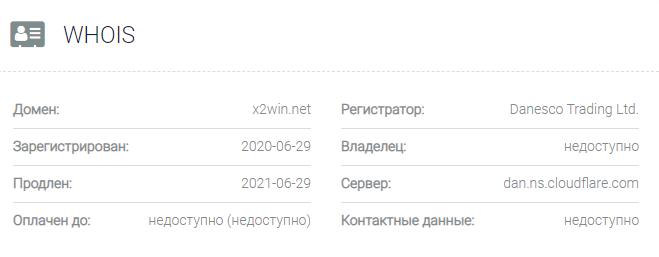Информация о домене X2win