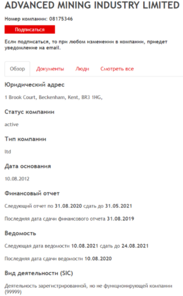 CRYPTOBOSS - юридический адрес