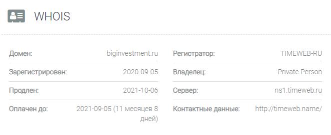 Biginvestment - основные данные