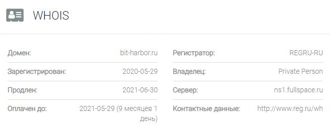 Информация о домене Bit-harbor