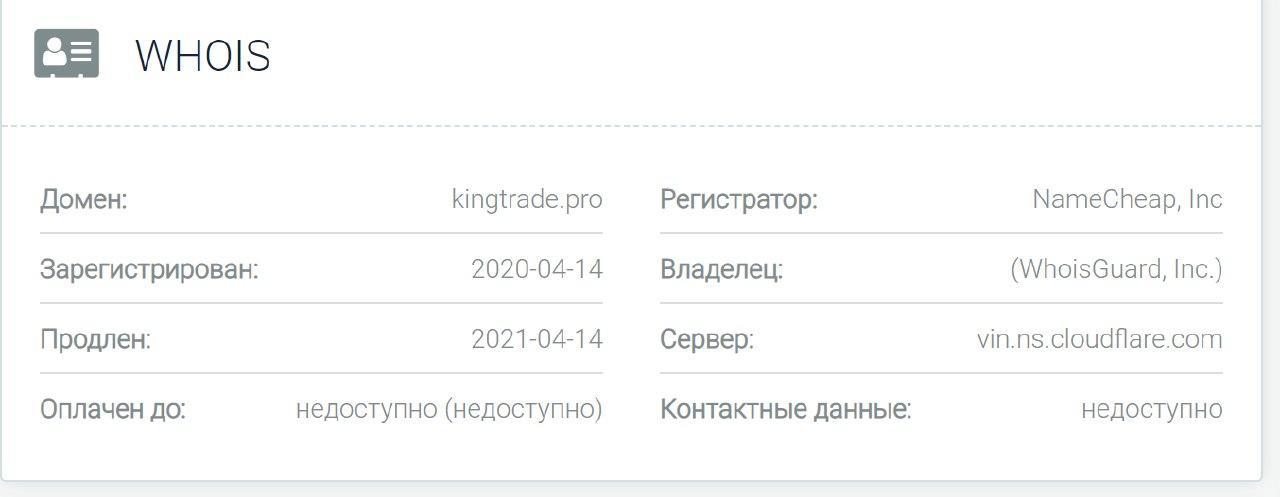 KingTrade - основные данные