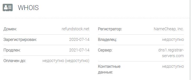 Информация о домене RefundStock