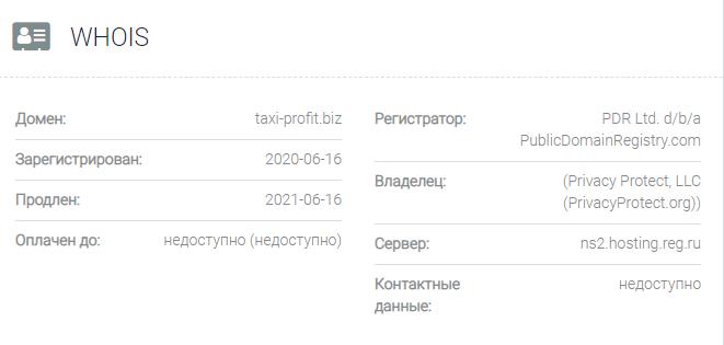 Информация о домене Taxi-profit