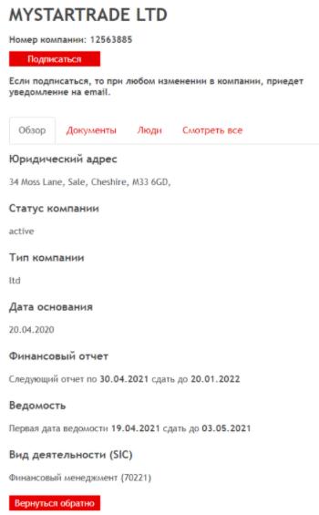 Mystartrade - сертификат компании