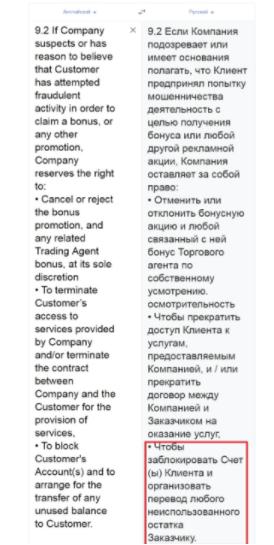FinxTrade - пользовательское соглашения